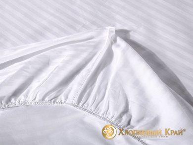 простыня на резинке страйп-сатин белая, фото 3