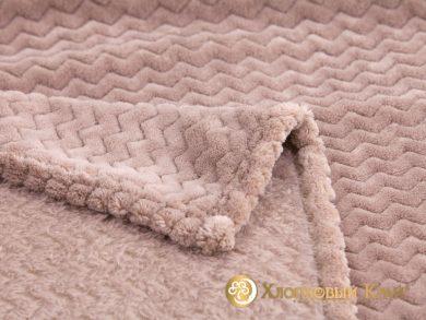 Плед велсофт Парма плюш лилово-беж, фото 2