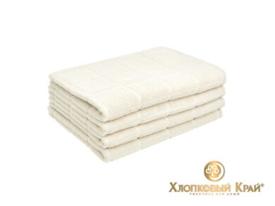 полотенце для лица 50х100 см Клетка молоко, фото 3