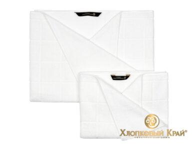 полотенце для лица 50х100 см Клетка белый, фото 3