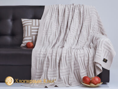 плед-покрывало на кровать Гранж лен 180*220см, фото 4