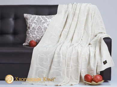 плед-покрывало на кровать Классик молоко 180*220см, фото 4