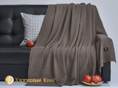 плед-покрывало на кровать Эко кофе 180*220см, фото 4