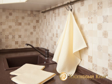 Набор из 3-х полотенец 45*70 см МОЛОКО, фото 2